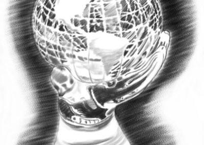 Glass Hand and Globe for IGA