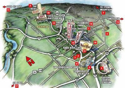 1996 Atlanta Olympics Aerial Map for Kodak