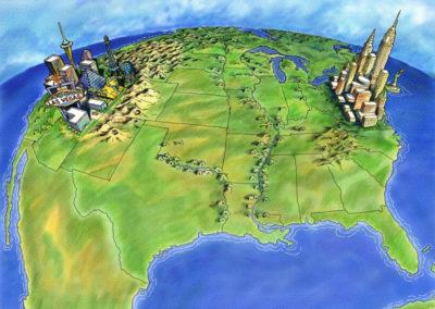 USA Map featuring Atlantic City, New York and Las Vegas