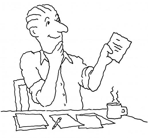 Man reading a paper bill