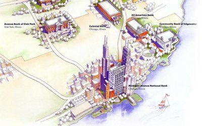 Michigan Avenue Bank Aerial Location Map