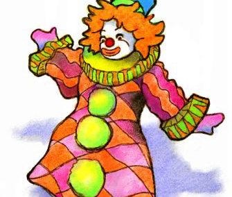 Digital Watercolor Clown Icon