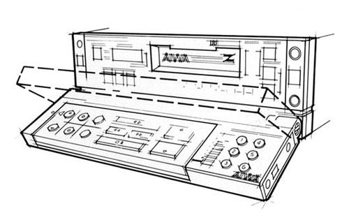 Aiwa Car Stereo - Technical Line Illustration