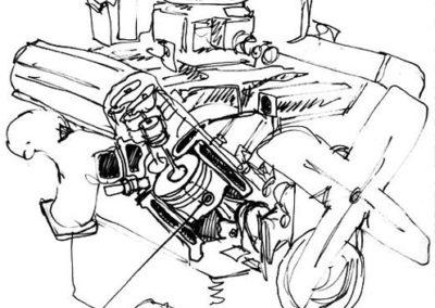 Engine Piston Pin Sketch