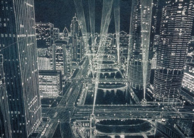 Chicago River Bridges at Night