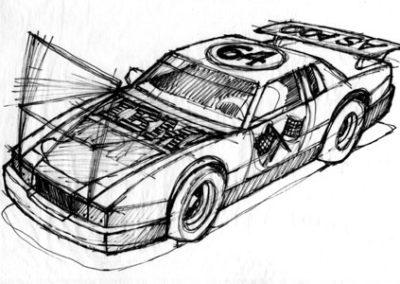 Nascar Sketch for IBM